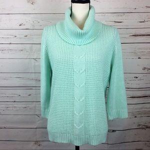 NWOT Sparkle Mint Cowl Neck Sweater, Size L